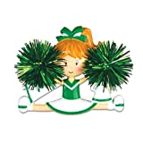 PERSONALIZED CHRISTMAS ORNAMENTS SPORTS- CHEERLEADER(GREEN)