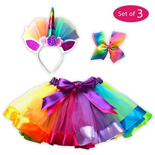 3 Piece Set - Girls Layered Rainbow Tutu Dress up Skirts with Unicorn Horn Headband and Rainbow Bow, Princess Costume