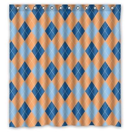 Elegance Bathroom Blue Light Orange Argyle Patterns Shower Curtain