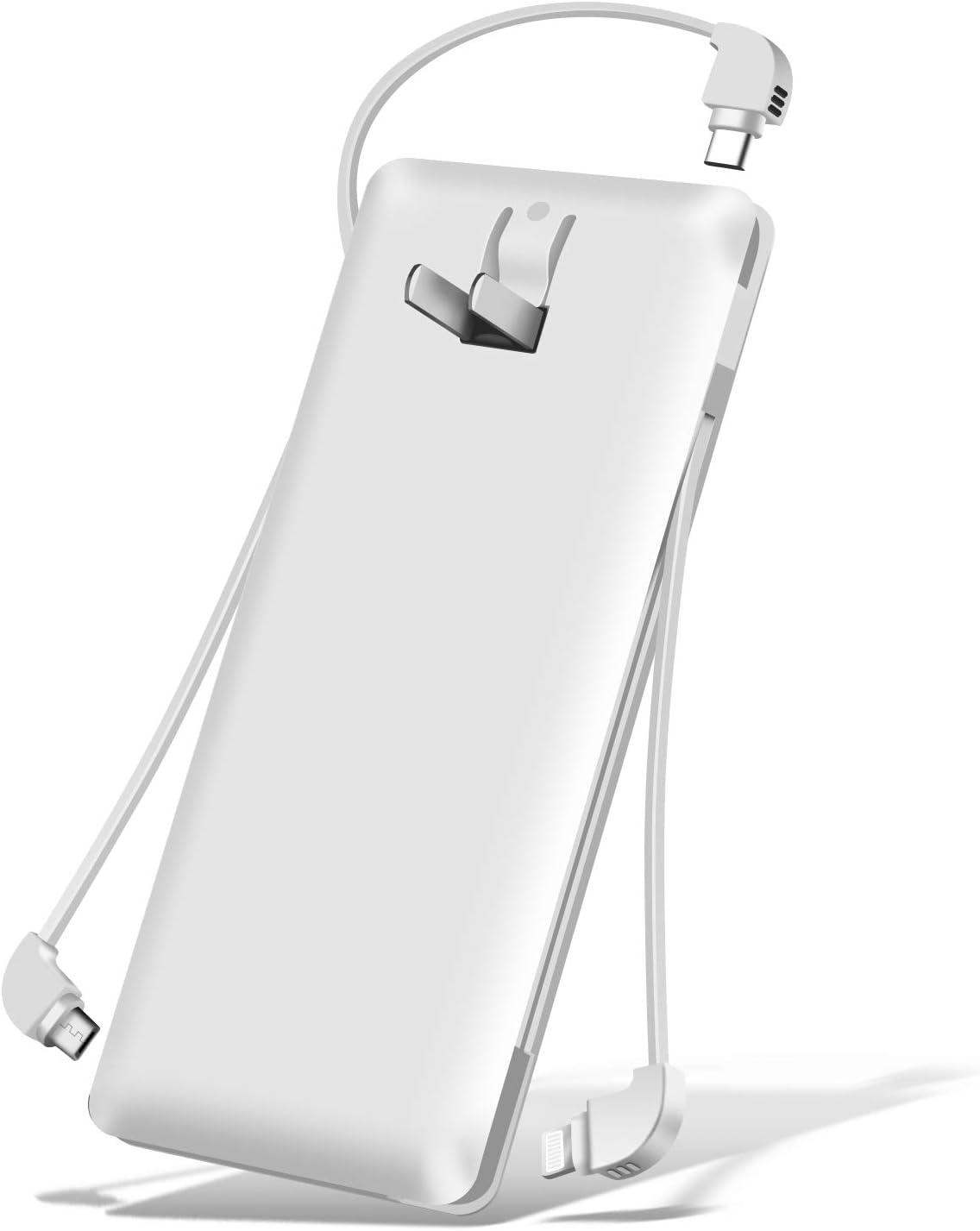 モバイルバッテ 大容量 10000mAh 3本ケーブル内蔵 1USBポート ライトニング/microUSB/type-cコネクタ スマホ充電器 バッテリー 2A出力 残量表示 急速充電 軽量 薄型 iPhone&iPad&Android各種対応 白【PSE認証済】