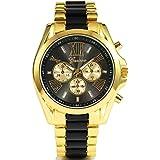 White Luxury Classic Stainless Steel Gold Dial Quartz Analog Bangle Wrist Watch
