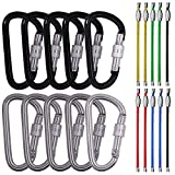 """3"""" 10 Pack D Shape Spring-loaded Strong and Lightweight Large Carabiners Clip Set, SourceTon Outdoor Camping Screw Gate Lock Hooks BONUS 10 PCS 4.3"""" Stainless Steel Wire Ring Cable Loops"""