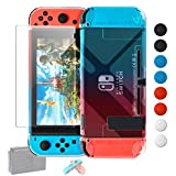 Dockable Case Compatible with Nintendo Switch, Protective Accessories for Nintendo Switch and Soft TPU Grip Case for Nintendo Switch Joy-Con with Glass Screen Protector and 8 Thumb Grips Caps BlueRed