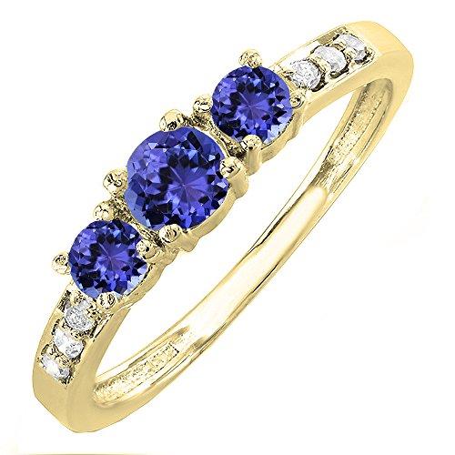 Dazzlingrock Collection 10K Tanzanite & White Diamond 3 Stone Engagement Bridal Ring, Yellow Gold, Size 7.5