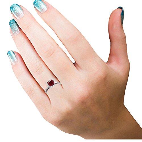 18K Gold Cushion & Round Cut Ruby & Round Cut White Diamond Ladies Bridal Halo Engagement Ring Set