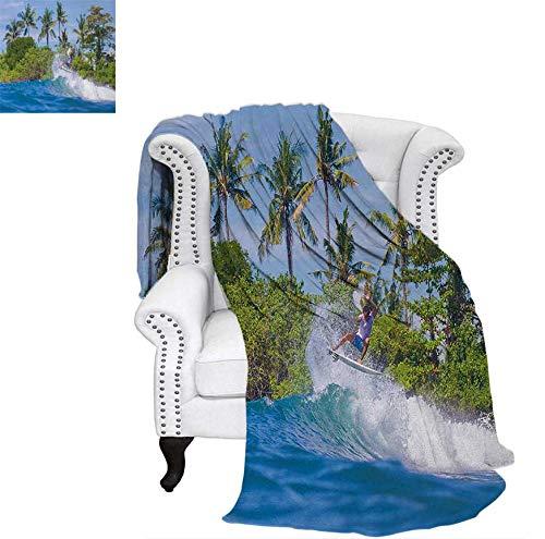 Weave Pattern Blanket Surfer in Ocean by Bali Island Palm Trees Dreamy Nature Scenery Custom Design Cozy Flannel Blanket 60