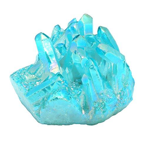 CrystalTears Natural Rock Quartz Titanium Coated Crystal Quartz Cluster Geode Druzy Specimen Gemstone Decoration (Blue-Green) by CrystalTears