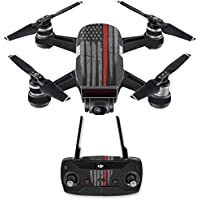 Skin for DJI Spark Mini Drone Combo - Thin Red Line| MightySkins Protective, Durable, and Unique Vinyl Decal wrap cover | Easy To Apply, Remove, and Change Styles | Made in the USA