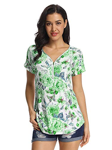 Women's Zip Up V Neck Short Sleeve Floral Tops Tunic Casual T Shirts Blouse Green 2XL