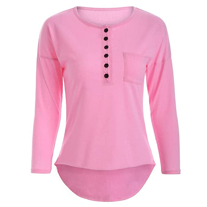 056627cdab3af7 NEEKY Damen Casual Solide Langarm T Shirt Freizeit O-Neck Button Tops Bluse  Mit Pocket: Amazon.de: Bekleidung