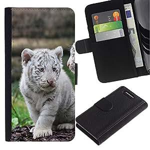UNIQCASE - Sony Xperia Z1 Compact D5503 - White Tiger Cub Puppy Cute - Cuero PU Delgado caso cubierta Shell Armor Funda Case Cover