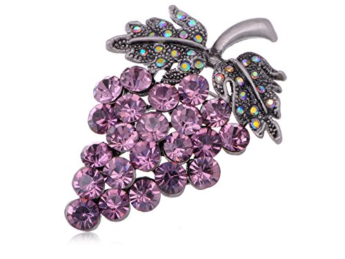 (Alilang Womens Antique Silvery Tone Amethyst Purple Colored Rhinestones Grapes Fruit Brooch Pin )