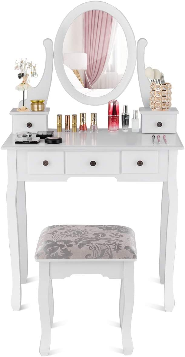 Giantex Vanity Set with Oval Mirror and 5 Drawers, Makeup Dressing Table with Cushioned Stool, Modern Bedroom Bathroom Dressing Table Set, Girls Women Makeup Organizer Table, White