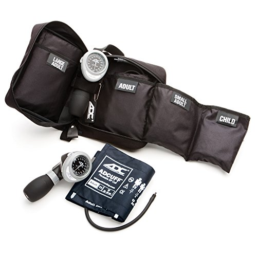 ADC Multikuf 732 4-Cuff EMT Kit with 804 Portable Palm Aneroid Sphygmomanometer, Child, Small Adult, Adult and Large Adult BP Cuffs (13-50 cm), Black Nylon Zipper Storage Case, Muli-Color