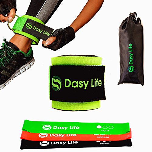 Wide Ankle Band (Ankle Strap for Cable Machines and 3 Work Bands – Stronger Fitness Leg Cuff Suitable for Weightlifting Machine and Resistance Trainers – Gym and Home Workout for Glutes and Hamstrings)