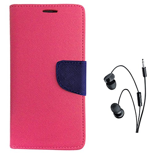 Avzax Diary Look Flip Case Cover with Magnetic Closure for Micromax YU Yuphoria YU5010  Pink  + in Ear Headphone