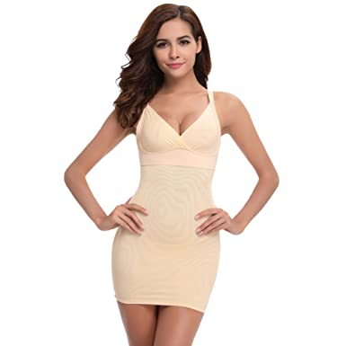 06e11927f244b Queenral Women Adjustable Straps Full Body Shaper Control Slip Shapewear  Apricot