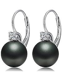 ZowBinBin 925 Sterling Silver Black Pearl Earrings,Beautiful Black Pearl Earrings,Black Pearl Dangle Earrings Hypoallergenic Imitation Pearl Earrings Gift For Women,Girls