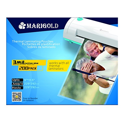 Marigold 205-Count Pack 3 mil Letter Size, 9''x11.5'', Thermal Laminating Pouches Laminator Film Sheets for Laminator Machine (TLP3LTR) by Marigold