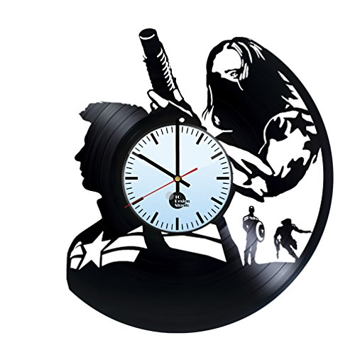 Winter Soldier Captain America Vinyl Record Wall Clock – Get unique home wall decor – Gift ideas for boys and girls MARVEL COMICS Unique Art Design – Leave us a feedback and win your custom clock
