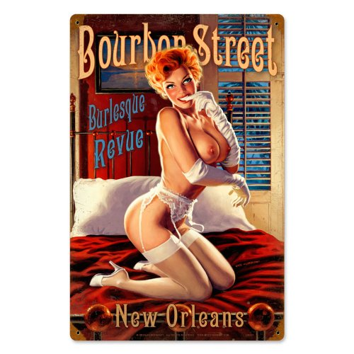 - Bourbon Street Pinup Girls Vintage Metal Sign - Victory Vintage Signs