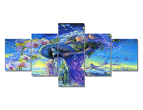 Wall Pictures for Living Room Aquarius Artwork Constellations of the Zodiac Painting Wall Art Strological Sign Pictures 5 Panel Home Decor Print Modern Framed Gallery Wrap Ready To - Constellation Painting