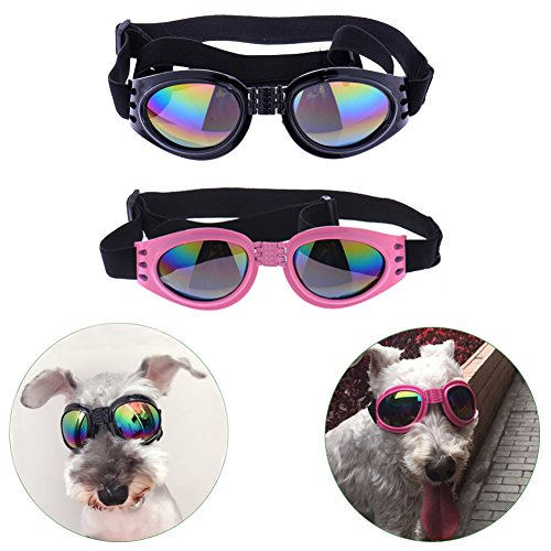 Sparklelife 2 Pairs Dog Goggles UV Protective Foldable Lenses Adjustable Strap Eye Wear Protection Waterproof Pet Sunglasses for - Sunglasses In Dog