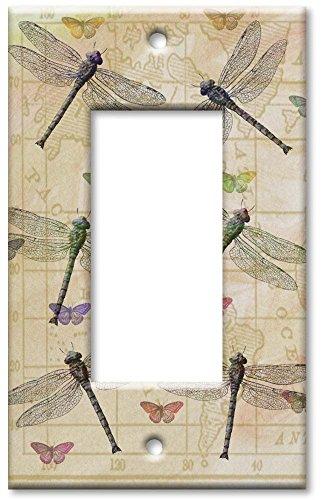[Art Plates - Single Gang Rocker OVERSIZE Switch Plate - Dragonflies & Butterflies] (Oversize Light Switchplates)
