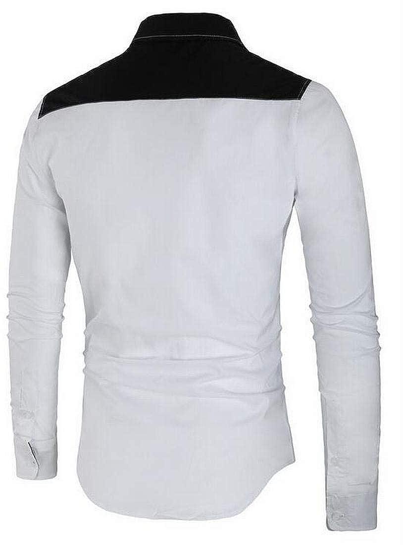 XiaoTianXinMen XTX Mens Long Sleeve with Pockets Color Block Fall /& Winter Regular Fit Dress Work Shirt