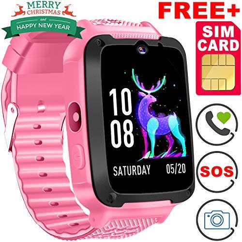 Kids Phone Smart Watch [Speedtalk SIM Included] Kids Smartwatch for 3-12 Year Girls Boys Kids Touch Screen Camera Game Sport Outdoor Cellphone Digital Watch Bracelet Wrist for Holiday Birthday Gift -