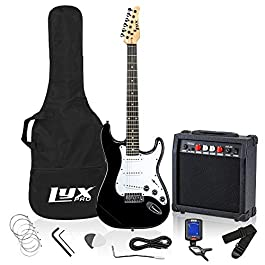 LyxPro Electric Guitar 39″ inch Complete Beginner Starter kit Full Size with 20w Amp, Package Includes All Accessories, Digital Tuner, Strings, Picks, Tremolo Bar, Shoulder Strap, and Case Bag – Black