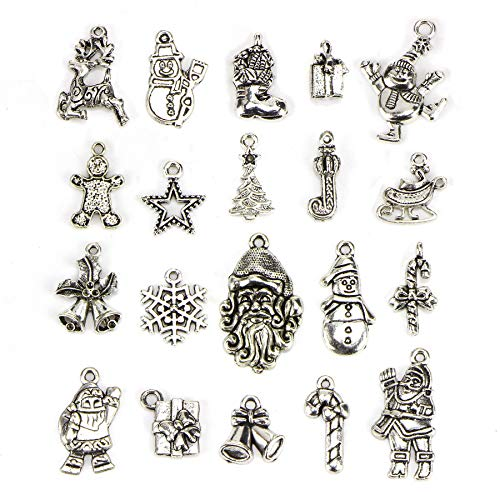 Christmas Charms - 20 pcs Mix Craft Supplies Santa Christmas Tree Snowflakes Deer Bell Stocking Snowman Charms Pendants for Crafting, Jewelry Findings Making Accessory for DIY Necklace Bracelet