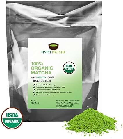 Ceremonial Matcha Green Tea Powder - USDA Organic - Authentic Japanese Matcha - 137 x Antioxidants, Increase Energy, Burn Fat, 40g