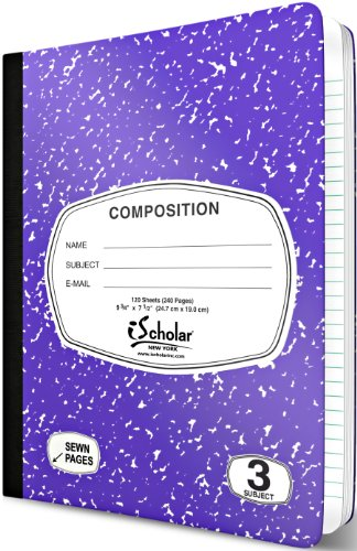 iScholar 3-Subject Colored Marble Composition Book, 120 Sheets, Wide Ruled, 9.75 x 7.5-Inches, Cover Color May Vary (18113) Photo #2
