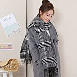 HOMEE Plaid Couple Scarf Winter Thickening Shawl Warm,Black and white