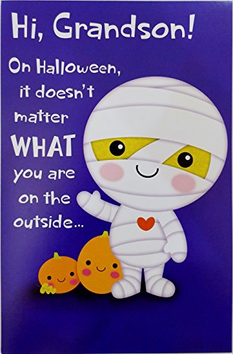 Happy Halloween Grandson Greeting Card w/ Cute Mummy
