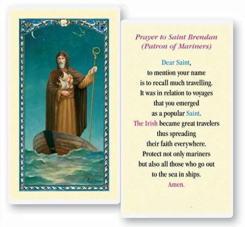 (Saint Brendan Patron of Mariners Blessed Laminated Italian Holy card with Gold Accents)
