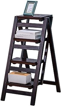 KFDQ Inicio Taburetes, taburetes de escalera Escalera Asientos de silla Escalera de madera de pino Taburete de escalada de doble uso Silla de escalera de 4 escalones Estante de flores portátil multif: