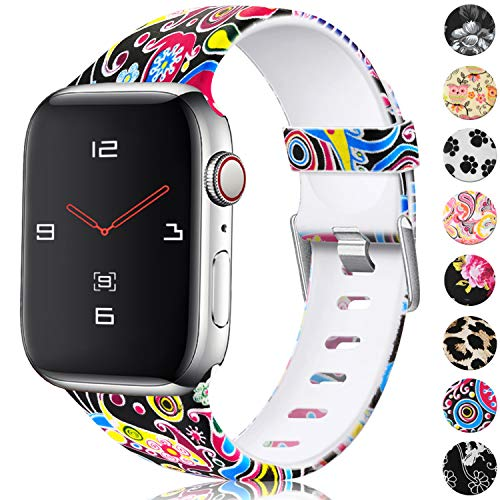 Fireworks Pattern - KOLEK Durable TPU Sport Replacement Bands for Apple Watch 38mm 40mm Series 4/3/2/1, Fireworks Pattern, S/M