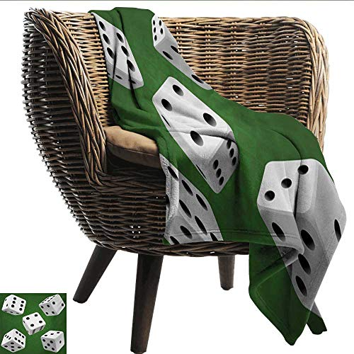 Reversible Blanket Modern Casino Gamble Rolling Dice Set Green Background Illustration All Season Premium Bed Blanket W40 xL60 Sofa,Picnic,Camping,Beach,Everyday use - Fuzzy Dice 2
