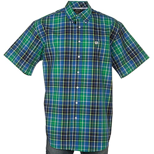 Cinch Men's Classic Fit Short Sleeve Button One Open Pocket Plaid Shirt, Green/Blue, L