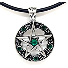 """18"""" PVC Necklace + Color Star Pentagram Pentacle Pagan Wiccan Witch Gothic Pewter Pendant"""