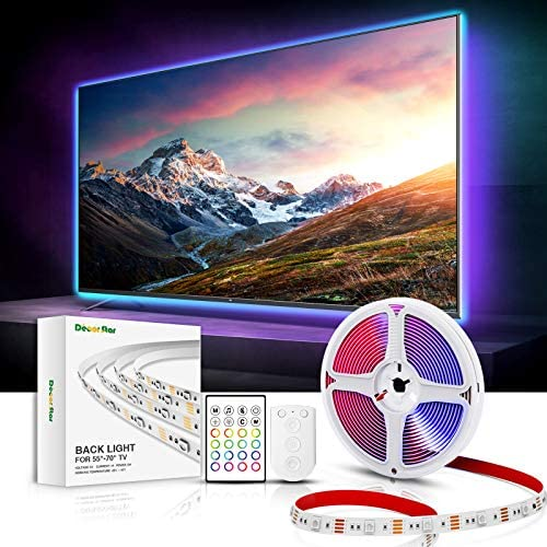 DecorStar TV LED Backlights, LED Lights for TV 14.5 FT Strips Sync to Music 32 Colors DIY Mode TV Backlight 55 inch 60 inch 65 inch 70 inch USB Powered