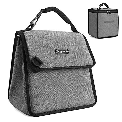 Bagmine Insulated Lunch Bag for Adult Men Women, Waterproof Lunch Box Cooler Tote for School Picnic Camping, Gray