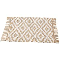 Mud Pie Woven Jute Diamond Rug Home Accessories