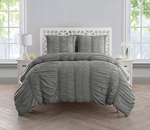 (VCNY Home Holly Technique 3 Piece Ruched Design Duvet Cover Set, King, Silver)