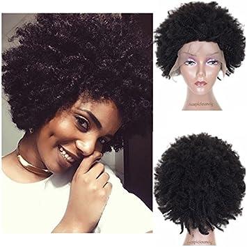 0a1461d92cf5 Auspiciouswig court Afro des boucles de qualité supérieure vierge Remy  Cheveux brésiliens Full Lace Front Cheveux
