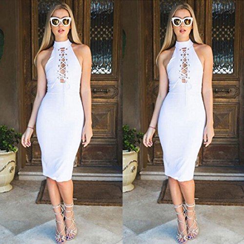 GONKOMA Women Bandage Bodycon Sleeveless Dress Cocktail Party Tie Up Dress (M, White)