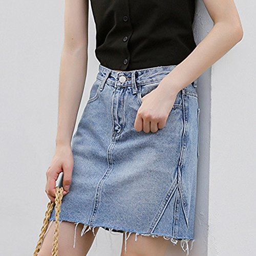 Clair Denim tudiant Haute pour Line Bleu A Femme Taille Jupe Mini wvxA4Sqw