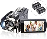Video Camera Camcorder Digital YouTube Vlogging Camera Recorder Full HD 1080P 15FPS 24MP 16X Digital Zoom 3.0 Inch 270 Degree Rotation LCD Camcorder with 2 Batteries